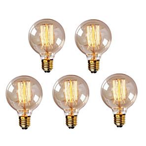 cheap LED Cabinet Lights-HRY 5pcs 40W E26 / E27 G95 Warm White 2300k Retro Dimmable Decorative Incandescent Vintage Edison Light Bulb 220-240V