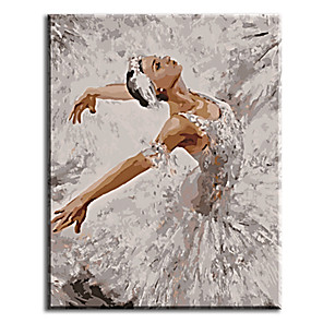 cheap Abstract Paintings-Pictures Painting By Numbers Hand Painted Oil Painting Wall Sticker Ballet Queen with Stretched Frame Ready to Hang