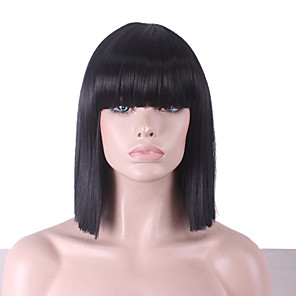 cheap Costume Wigs-Synthetic Wig Cosplay Wig Straight Yaki Straight Yaki Bob With Bangs Wig Medium Length Synthetic Hair Women's Natural Hairline Black