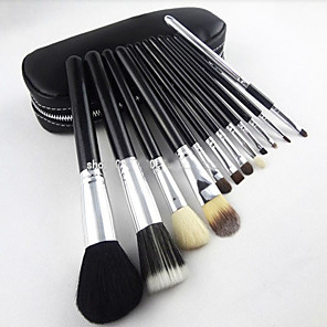 cheap Makeup Brush Sets-Professional Makeup Brushes Makeup Brush Set 12 Full Coverage Goat Hair Wood for Makeup Brush Set