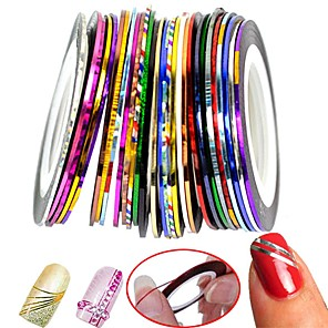 cheap Rhinestone & Decorations-30 pcs Nail Foil Striping Tape nail art Manicure Pedicure Classic Daily / Foil Stripping Tape