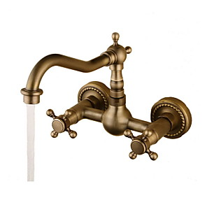 cheap Bathroom Sink Faucets-Bathroom Sink Faucet - Rotatable Antique Bronze Wall Mounted Two Holes / Two Handles Two HolesBath Taps