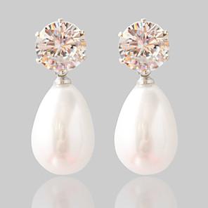 baratos Brincos-Mulheres Diamante sintético Brincos Curtos Fashion Pérola Brincos Jóias Prata Para Casamento Festa