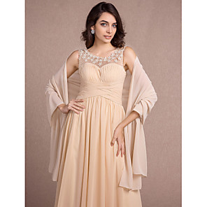 cheap Wedding Wraps-Sleeveless Shawls Chiffon Wedding / Party Evening Women's Wrap With Side-Draped