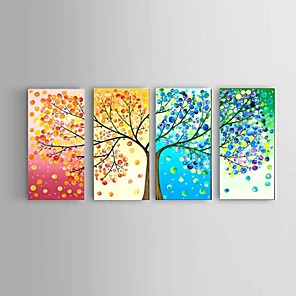 cheap Abstract Paintings-Oil Painting Hand Painted - Abstract Landscape Still Life Modern With Stretched Frame / Four Panels