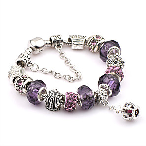 cheap Bracelets-Men's Crystal Chain Bracelet Charm Bracelet Ladies Fashion Festival / Holiday Italian Stainless Steel Bracelet Jewelry Purple For Christmas Gifts Wedding Party Daily Casual Sports