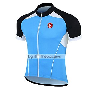 cheap Cycling Jerseys-KEIYUEM Men's Women's Short Sleeve Cycling Jersey Coolmax® Silicon Blue White Black Bike Jersey Top Breathable Quick Dry Ultraviolet Resistant Sports Clothing Apparel / Stretchy / Back Pocket