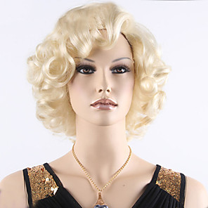 cheap Synthetic Trendy Wigs-Synthetic Wig Curly Curly Wig Blonde Short Blonde Synthetic Hair Women's Blonde