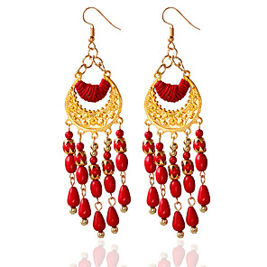 cheap Earrings-Women's Tassel Earrings Jewelry Black / Red / Blue For Wedding