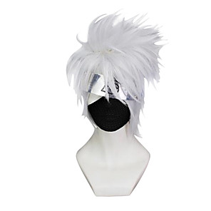 cheap Anime Costumes-Naruto Hatake Kakashi Cosplay Wigs Men's 10 inch Synthetic Fiber Anime Wig