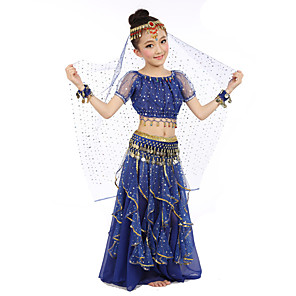 cheap Kids' Dancewear-Belly Dance Top Gold Coin Sequin Performance Short Sleeves Natural Chiffon Satin Polyester