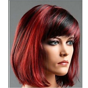 cheap Synthetic Trendy Wigs-Synthetic Wig Straight Straight Bob With Bangs Wig Short Fuxia Synthetic Hair Women's Highlighted / Balayage Hair Side Part Red