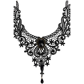 cheap Necklaces-Women's Crystal Choker Necklace Pendant Necklace Beads Ladies Personalized Tassel Vintage Synthetic Gemstones Crystal Lace Black Necklace Jewelry For Wedding Party Halloween Daily Casual Sports