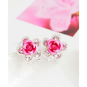 cheap Earrings-Women's Stud Earrings Flower Fashion Earrings Jewelry Red / Blue / Pink For Wedding Party