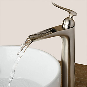 cheap Bathroom Sink Faucets-Bathroom Sink Faucet - Waterfall Nickel Brushed Centerset Single Handle One HoleBath Taps