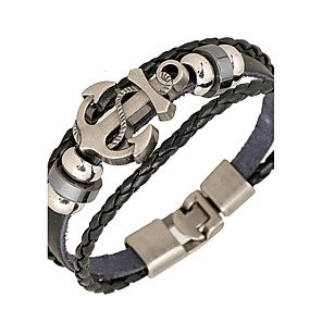 cheap Pendant Necklaces-Men's Wrap Bracelet Leather Bracelet woven Anchor Personalized Basic Punk Inspirational Leather Bracelet Jewelry Black / Brown For Daily Casual Sports