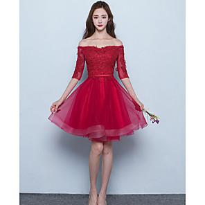 cheap Bridesmaid Dresses-A-Line Off Shoulder Short / Mini Tulle Bridesmaid Dress with Sash / Ribbon