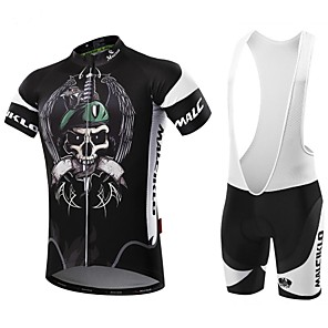 cheap Cycling Jersey & Shorts / Pants Sets-Malciklo Men's Short Sleeve Cycling Jersey with Bib Shorts White Black Bike Clothing Suit Breathable 3D Pad Quick Dry Back Pocket Sports Coolmax® Lycra Pirate Mountain Bike MTB Road Bike Cycling