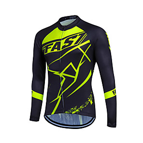 cheap Cycling Jerseys-Fastcute Men's Women's Long Sleeve Cycling Jersey Winter Coolmax® Polyester Black / Green Plus Size Bike Sweatshirt Jersey Top Mountain Bike MTB Road Bike Cycling Breathable Quick Dry Reflective