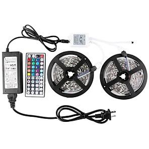 cheap Wall Stickers-ZDM 2 x 5 m Waterproof LED Light Strips RGB Tiktok Lights 5050 SMD 10mm Light Sets 300 LEDs with 44Key IR Controller 70W 12V6A Power Supply Soft Light Strip Kit