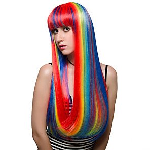 cheap Synthetic Trendy Wigs-Synthetic Wig Straight Straight With Bangs Wig Very Long Red Synthetic Hair Women's Highlighted / Balayage Hair Red