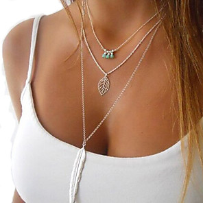 cheap Necklaces-Women's Crystal Pendant Necklace Layered Necklace Layered Tassel Fringe Feather Ladies Tassel Vintage Fashion Alloy Silver Necklace Jewelry For Party Daily Casual / Long Necklace