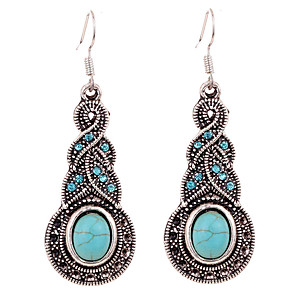 cheap Jewelry Sets-Women's Turquoise Earrings Hanging Earrings Artisan Flower Ladies Elegant Bohemian Vintage western style Indian Rhinestone Silver Plated Earrings Jewelry Blue For Party Daily Casual
