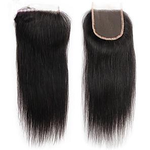 cheap 4 Bundles Human Hair Weaves-peruvian lace closure human hair weave virgin silk straight bleached knots with baby hair