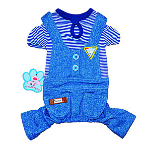 cheap Dog Clothes-Cat Dog Jumpsuit Stripes Holiday Fashion Winter Dog Clothes Blue Pink Costume Cotton XS S M L XL