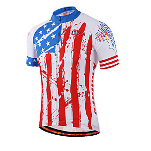 cheap Cycling Jerseys-Miloto Men's Women's Short Sleeve Cycling Jersey Red and White Stripes Plus Size Bike Shirt Sweatshirt Jersey Breathable Quick Dry Reflective Strips Sports Coolmax® 100% Polyester Mountain Bike MTB