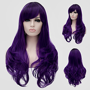 cheap Synthetic Lace Wigs-Synthetic Wig Wavy Wig Long Purple Synthetic Hair Women's Purple