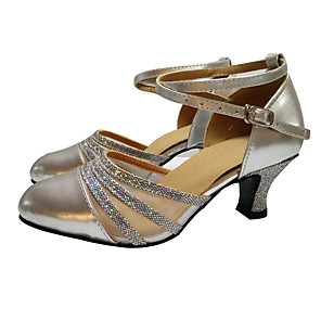 Femme Latines Paillettes Similicuir Sandale Intérieur Talon Bottier Or Argent Violet Gold US6.5-7 / EU37 / UK4.5-5 / CN37 5EyOKSO
