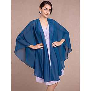 cheap Wedding Wraps-Sleeveless Capes Chiffon Wedding / Party Evening Women's Wrap With Scales