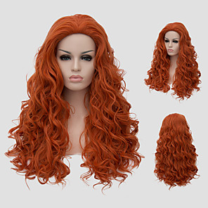cheap Synthetic Trendy Wigs-Synthetic Wig Curly With Bangs Wig Long Orange Synthetic Hair Women's Red