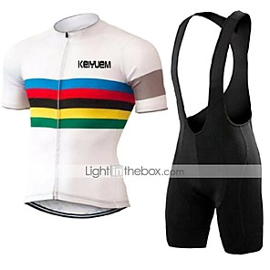 cheap Cycling Jersey & Shorts / Pants Sets-KEIYUEM Men's Women's Short Sleeve Cycling Jersey with Bib Shorts Bike Clothing Suit Breathable Quick Dry Back Pocket Sweat-wicking Sports Coolmax® Mesh Silicon Classic Clothing Apparel / Stretchy