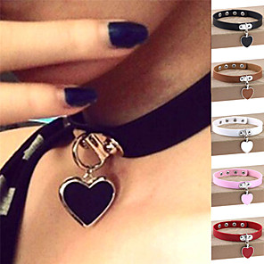 cheap Necklaces-Women's Choker Necklace Pendant Necklace Heart Love Ladies Personalized Vintage Punk Leather Silver Plated Alloy Light Brown Dark Brown White Black Purple Necklace Jewelry For Party Halloween Daily