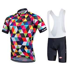 cheap Triathlon Clothing-Fastcute Men's Short Sleeve Cycling Jersey with Bib Shorts Coolmax® Lycra Rainbow Geometic Bike Jersey Bib Tights Clothing Suit Breathable Quick Dry Sports Geometic Road Bike Cycling Clothing Apparel
