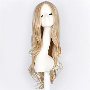 cheap Costume Wigs-Synthetic Wig Cosplay Wig Wavy Wavy Wig Blonde Blonde Synthetic Hair Blonde