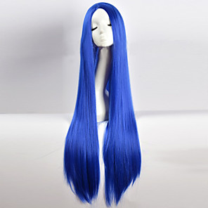 cheap Synthetic Lace Wigs-Cosplay Costume Wig Synthetic Wig Cosplay Wig Straight kinky Straight Minaj kinky straight Straight Asymmetrical Wig Long Blue Synthetic Hair Women's Natural Hairline Blue