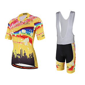 cheap Cycling Jersey & Shorts / Pants Sets-Miloto Women's Short Sleeve Cycling Jersey with Bib Shorts Yellow Rainbow Plus Size Bike Bib Shorts Jersey Bib Tights Breathable Quick Dry Sweat-wicking Sports Polyester Lycra Rainbow Mountain Bike