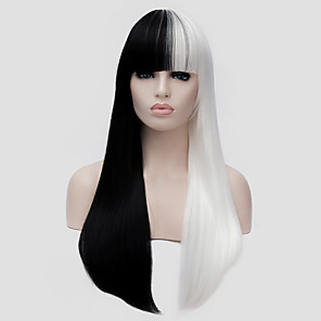 cheap Synthetic Trendy Wigs-Synthetic Wig Straight Kardashian Straight With Bangs Wig Long Black / White Synthetic Hair Women's White