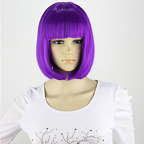 cheap Synthetic Trendy Wigs-Synthetic Wig Bob Wig Light Blonde Dark Brown Blonde Pink Green Synthetic Hair Purple