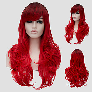 cheap Synthetic Trendy Wigs-Synthetic Wig Wavy Wavy With Bangs Wig Long Red Synthetic Hair Women's Side Part Red