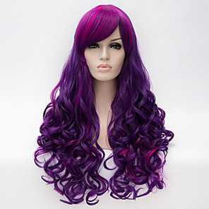 cheap Synthetic Trendy Wigs-Synthetic Wig Cosplay Wig Curly Wavy Natural Wave Natural Wave Curly With Bangs Wig Long Purple Synthetic Hair Women's Highlighted / Balayage Hair Side Part Purple