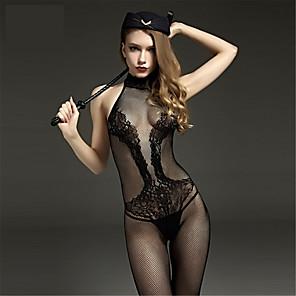 cheap Synthetic Trendy Wigs-Women's Mesh Plus Size Erotic Gartered Lingerie Ultra Sexy Teddy Nightwear Jacquard Black S M L