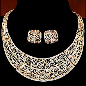 cheap Hair Jewelry-Women's Jewelry Set Hoop Earrings Necklace / Earrings Vintage Earrings Jewelry Silver / Golden For Daily Casual