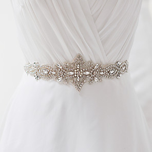 cheap Party Sashes-Satin Wedding / Party / Evening / Dailywear Sash With Rhinestone / Crystal / Pearl Women's Sashes / Beading / Appliques