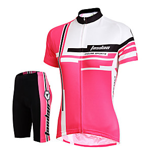 cheap Cycling Jersey & Shorts / Pants Sets-Women's Short Sleeve Cycling Jersey with Shorts Red Pink Solid Color Bike Shorts Jersey Padded Shorts / Chamois Breathable 3D Pad Quick Dry Reflective Strips Back Pocket Sports Solid Color Mountain