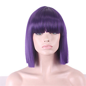 cheap Synthetic Trendy Wigs-Synthetic Wig Straight Yaki Straight Yaki Bob With Bangs Wig Purple Synthetic Hair Women's With Bangs Purple