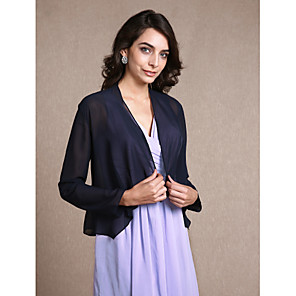 cheap Wedding Wraps-Long Sleeve Coats / Jackets Chiffon Party Evening Women's Wrap With Scales